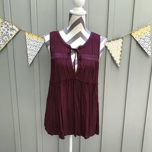 Melrose and Market Burgundy Crochet Flowy Tank Top